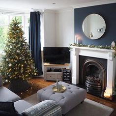 This week's theme is SENTIMENTAL. Do you have a bauble on your tree that you treasure most of all? Or does this festive… Navy Living Rooms, Dark Living Rooms, Feature Wall Living Room, Living Room Decor Apartment, New Living Room, Living Room Grey, Cosy Living Room, Lounge Design, Victorian Living Room