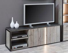 Meuble TV industriel couleur chêne gris et marbre NERA 2