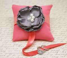Gray and Coral Ring Pillow attach to Dog Collar, Floral Wedding, Gray Coral Wedding Grey And Coral, Gray, Dog Wedding Dress, Unique Dog Collars, Beaded Dog Collar, Coral Pillows, Coral Ring, Ring Pillow, Wedding Pillows