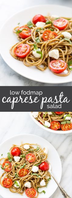 Filled with fresh ingredients and the classic combo of tomatoes, basil and balsamic, this Low Fodmap Caprese Pasta Salad just screams summer! Serve it warm or cold (how I prefer it), this is a quick gluten free pasta salad is easy to whip up for a light m Caprese Salad Recipe, Caprese Pasta Salad, Easy Pasta Salad Recipe, Summer Pasta Salad, Salad Recipes, Diet Recipes, Crab Salad, Ham Recipes, Chili Recipes