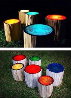 Log stools painted with glow in the dark paint for firepit seating. Perfect for your house outdoor party.