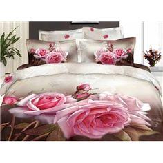 Home Mini Rose Print Bedding Oil Painting Bedding Set, Queen 4 Duvet Pink Comforter Sets, Cheap Bedding Sets, Bedding Sets Online, Queen Bedding Sets, Pink Bedding, Luxury Bedding Sets, Painted Beds, Pottery Barn Teen Bedding, Beautiful Rose Flowers