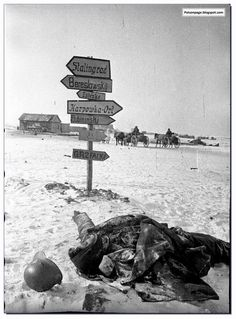 A city too far. Dead German soldier in 1943 near Stalingrad.