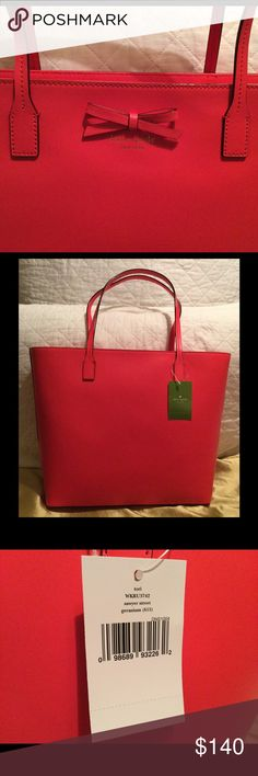 Kate spade Sawyer Street Tori Purse Geranium color purse with small bow on front. Zipper pocket and two phone pockets inside. kate spade Bags Totes