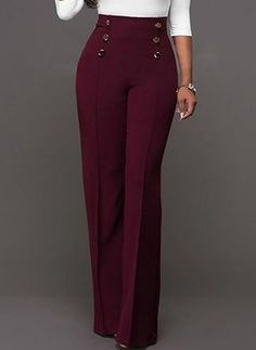 Looking for Plain High-Waist Button Loose Full Length Patchwork Women's Pants? Fancywe offers lots of Pants & Leggings in different styles, colors and materials. Dress your own style with Plain High-Waist Button Loose Full Length Patchwork Women's Pants Business Casual Outfits, Classy Outfits, Cute Outfits, Fashion Pants, Fashion Outfits, Women's Fashion, Work Fashion, Fasion, Latest Fashion