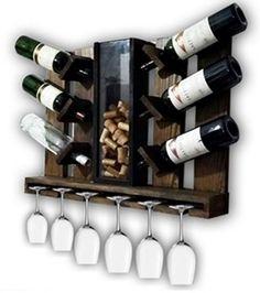 Adega vinhos em Madeira de pinus para Parede com porta rolhas