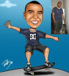 Caricaturas digitais, desenhos animados, ilustração, caricatura realista: Desenho de menino com skate !!