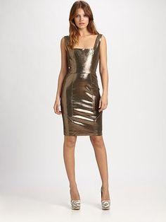 Alice + Olivia Norah Metallic Leather Dress