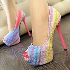 Perfect PU Peep Toe Stiletto Super High Heel Pumps multicolores básicos del arco iris