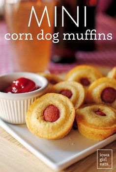 The original Mini Corn Dog Muffins! A fun and unique poppable recipe for an occasion. Easily made gluten-free, too! | iowagirleats.com
