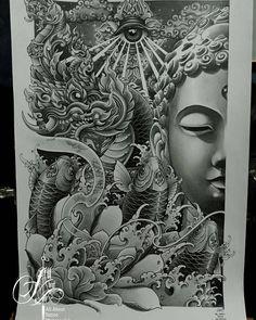 Buddha Tattoo Design, Buddha Tattoos, Khmer Tattoo, Thai Tattoo, Full Arm Tattoos, Full Body Tattoo, Asian Tattoos, Girl Tattoos, Sak Yant Tattoo