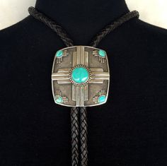 BZ10+Turquoise+Zia+Sun+Symbol+Sterling+Silver+Southwestern+Native+Style+Bolo+Necktie