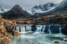 The fairy pool and the Cuillins, Skye - The uppermost fairy pool on the island of Skye with the Cuillin mountain range as a backdrop Island Of Skye, Fairy Pools, Mountain Range, Backdrops, Waterfall, Landscapes, Outdoor, Paisajes, Outdoors