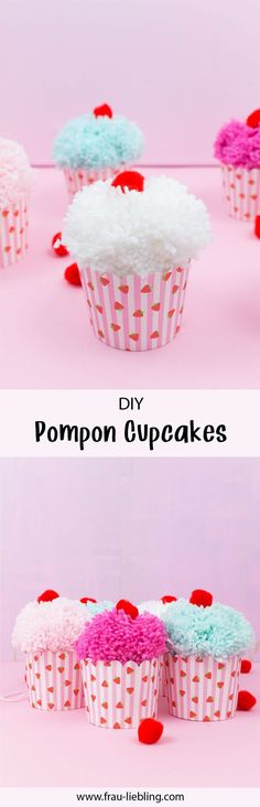 DIY Pompon Cupcake-Girlande You can make a great DIY decoration yourself: For example, this DIY pompon cupcake garland made of colorful glitter wool. Cupcake Garland, Cupcake Cupcake, Diy Pompon, Diy Girlande, Kid Cupcakes, Pink Crafts, Baby Room Diy, Christmas Ornaments To Make, Cata