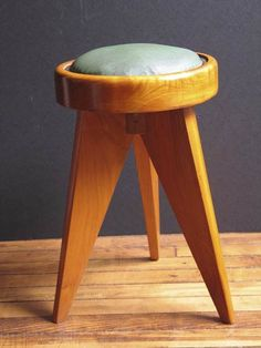 André Sornay; Mahogany and Leather Stool, 1950s.
