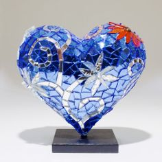 Tracy Calk 2014 Limited Edition Mini Mosaic Heart Sculpture - Hearts in SF