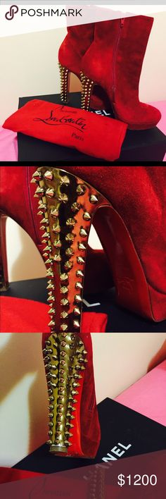Christian Louboutin shoes Christian Louboutin Suede platform spiked boots(limited edition).........Says size 40 but fits more like a 38.5.......open to reasonable offers Christian Louboutin Shoes Heeled Boots