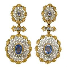 Important Buccellati Sapphire Diamond Earrings