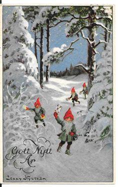 Annons på Tradera: JENNY NYSTRÖM TOMTAR Norwegian Christmas, Christmas Mood, Merry Christmas And Happy New Year, Scandinavian Christmas, Christmas Crafts, Christmas 2017, Christmas Stuff, Vintage Cards, Vintage Postcards
