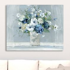 Revel in the rich blue petals of our Blue Be Happy Giclee Canvas Art Print! You'll love its sleek, cylinder vase - sprouting a bountiful floral arrangement! Blue Canvas Art, Canvas Art Prints, Painting Prints, Watercolor Paintings, Fine Art Prints, Canvas Artwork, Art Paintings, Art And Technology, New Wall