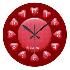 Puffed Pink Hearts Wall Clock