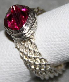 Wire Jewelry Free Patterns | woven ring shank with bi cone wrap