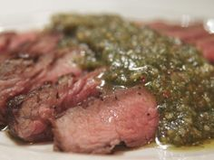 Get Seared Flat-Iron Steak with Almond-Sage Pesto Recipe from Cooking Channel