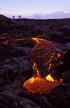 Lava flowing from Kilauea Volcano in the Volcanoes National Park - Big Island - Hawaii - USA