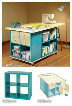 DIY Craft Room Table With Ikea Furniture Under Budget- Handicraft / hobby desk with IKEA parts ! DIY Craft Room Table With Ikea Furniture Handicraft / hobby desk with IKEA parts ! DIY Craft Room Table With Ikea Furniture Craft Room Storage, Sewing Room Organization, Organizing Ideas, Cube Storage, Sewing Room Storage, Paper Storage, Craft Room Organizing, Diy Storage Table, Craft Tables With Storage