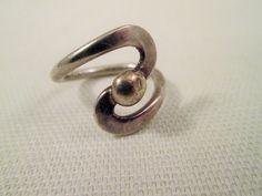 Sterling Silver Modernist Ring Size 5 Vintage by VintageBADTIQUE