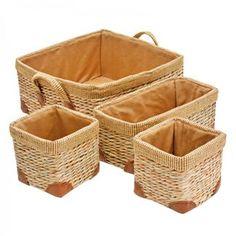 Cesta de rattan e tecido com 4 peças - 0036048.1