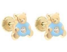 18K Yellow Gold Liliac Enamel Teddy Bear Charm