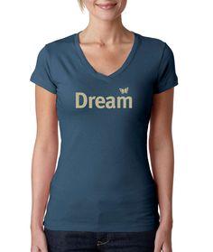 Dream yoga t shirt /Dream t-shirt/ Butterfly T-Shirt / Dream word tee / Women's t-shirt / Life is Balance / V-neck yoga tee by LifeisBalance on Etsy