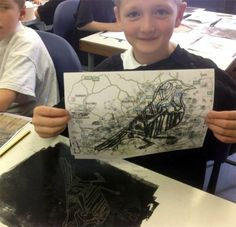 Printing at Battyford Primary, Inspired by an Artwork by Hester Cox at www.accessart.org.uk