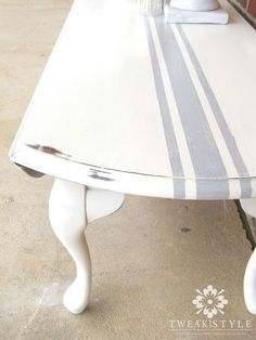 grain sack striping on furniture quick and easy, how to, painted furniture Patio Furniture Makeover, Paint Furniture, Furniture Projects, Furniture Design, Furniture Websites, Furniture Companies, Furniture Stores, Furniture Plans, Diy Projects
