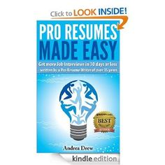 images about books resumes on pinterest   resume  resume    amazon com  pro resumes made easy  the made easy series  ebook  andrea drew  books