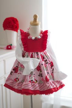 Girls Christmas Vintage Fairytale Dress available in sizes Full of gorgeous details like flutter sleeves, lace, beautiful christmas printed fabric, and a bowtie. Little Girls Fancy Dresses, Girls Dresses, Santa Dress, Violet Dresses, Afghan Dresses, American Doll Clothes, Fairytale Dress, Rose Dress, Pretty Outfits