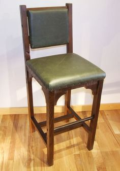 Reclaimed Barn Wood Rustic Heritage Bar Chair With Leather Seat
