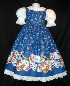 This adorable border print is sure to light up your little ones face this Christmas! It has a gorgeous royal blue background scattered with snowflakes. Girls Holiday Dresses, Special Occasion Dresses, Summer Dresses, Santa Snow Globe, Royal Blue Background, Professional Dresses, Jumper Dress, Big And Beautiful, White Lace