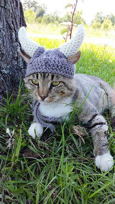 Viking Cat Hat Pattern, Viking Cat Hat Crochet Pattern, Cat Crochet Pattern, Viking Helmet for Cats Pattern, Viking Hat for Cat Pattern Costume Viking, Chat Crochet, Crochet Hats For Cats, Crochet Viking Hat, Viking Knit, Crocheted Hats, Viking Helmet, Viking Warrior, Cat Costumes