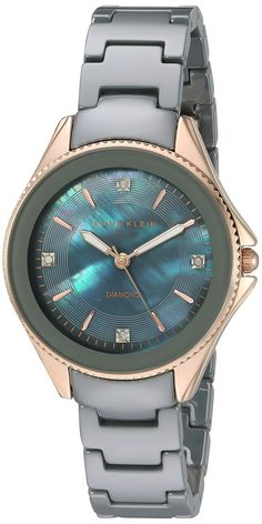 Anne Klein Women's Quartz Metal and Ceramic Dress Watch, Color:Grey (Model: AK/2390RGGY) ** You can get additional details at the image link.