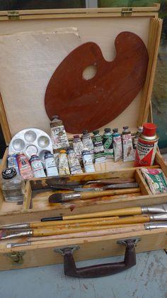 Vintage Wooden Artist's Paint Box, Palette, Brushes, Knives & Oil Paints
