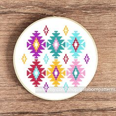 Ikat cross stitch pattern - PDF Counted cross stitch - Modern cross stitch…