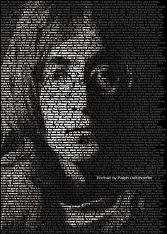 John Lennon. Mind-Blowing Text Portraits of Famous Musicians and Artists by Caroline Stanley. Image credit: Ralph Ueltzhoeffer