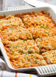 Spaghetti Squash Casserole with ground turkey, tomato sauce, breadcrumbs and cheese for a moderate wholesome indulgence with a crunchy topping. | ifoodreal.com
