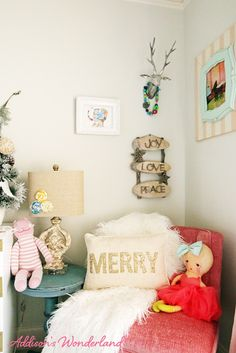 Creating a winter wonderland in a little girl's room for the Christmas season!  Lots of inspiration for incorporating the Holiday spirit into your kid's bedrooms!  Sponsored by HomeGoods.