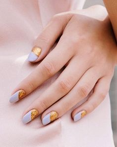 Lilac and gold shellac manicure. Read our guide to manicures here. #nailart #nails #nailinspiration