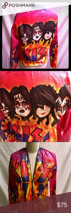 Vintage Kiss Army 1978 paper jacket Kids large Vintage Kiss Army 1978 paper jacket Kids large or adult small Jackets & Coats