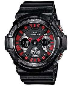 G-Shock Watch, Men's Analog-Digital Black Resin Strap 55x53mm GA200SH-1A - Watches - Jewelry & Watches - Macy's