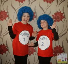 Thing 1 and Thing 2 costume - Boo Roo and Tigger Too How To Make. Thing 1 and Thing 2 costume. Wanting to do something a little different Niamh's mum (Roo's best friends mum) suggested Thing 1 and Thing 2 Dr Seuss Costumes, Book Costumes, World Book Day Costumes, Book Week Costume, Diy Halloween Costumes, Costume Ideas, Halloween Ideas, Team Costumes, Halloween Cat